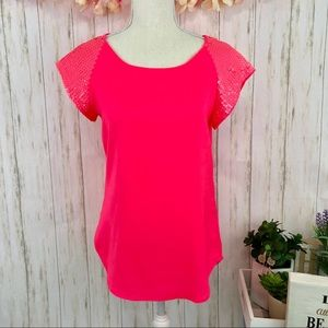 EXPRESS Soft Vibrant Pink Embellished Blouse